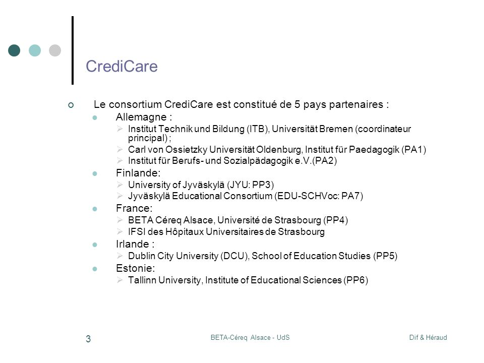 Dif & HéraudBETA-Céreq Alsace - UdS 3 CrediCare Le consortium CrediCare est constitué de 5 pays partenaires : Allemagne : Institut Technik und Bildung (ITB), Universität Bremen (coordinateur principal) ; Carl von Ossietzky Universität Oldenburg, Institut für Paedagogik (PA1) Institut für Berufs- und Sozialpädagogik e.V.(PA2) Finlande: University of Jyväskylä (JYU: PP3) Jyväskylä Educational Consortium (EDU-SCHVoc: PA7) France: BETA Céreq Alsace, Université de Strasbourg (PP4) IFSI des Hôpitaux Universitaires de Strasbourg Irlande : Dublin City University (DCU), School of Education Studies (PP5) Estonie: Tallinn University, Institute of Educational Sciences (PP6)