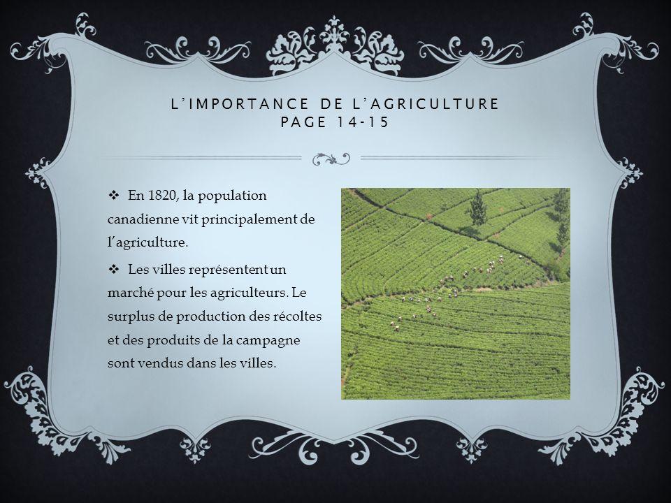 En 1820, la population canadienne vit principalement de lagriculture.