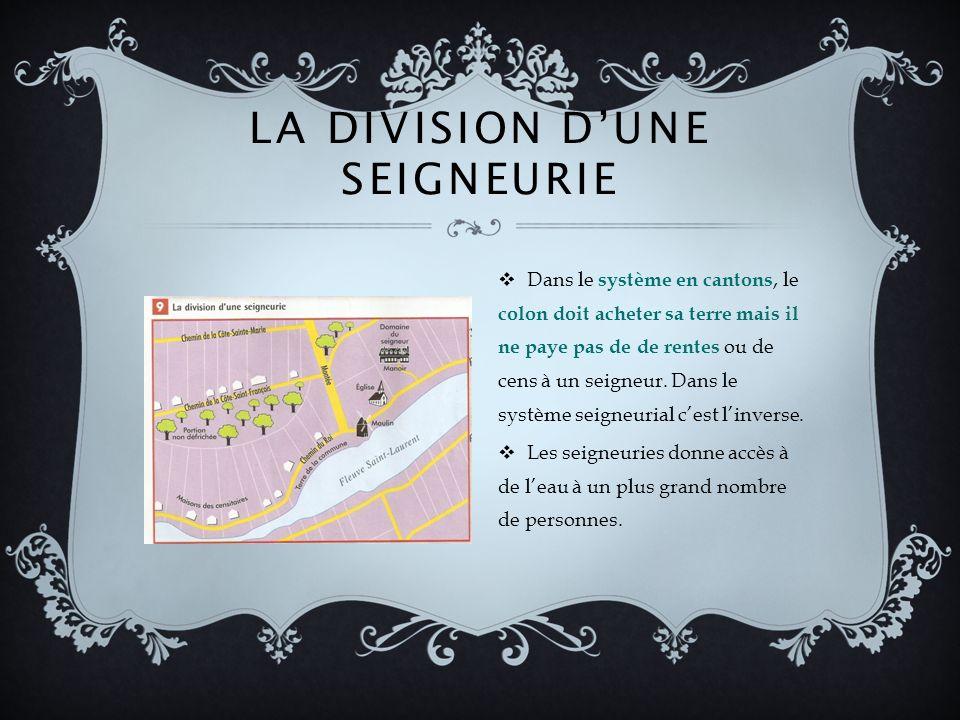 LA DIVISION DUNE SEIGNEURIE Dans le système en cantons, le colon doit acheter sa terre mais il ne paye pas de de rentes ou de cens à un seigneur.