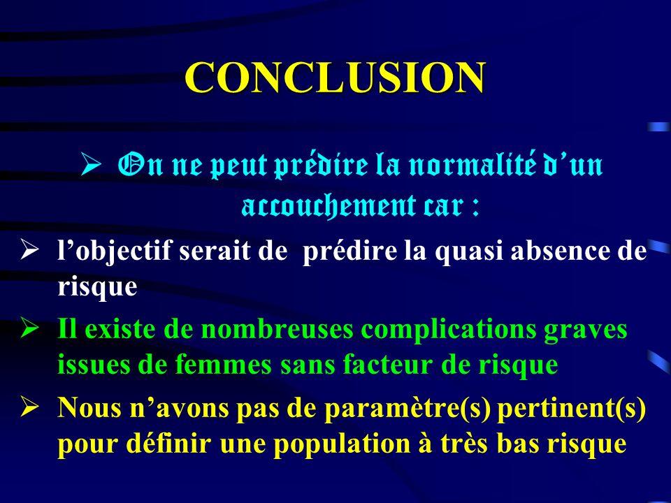 CONCLUSION On ne peut prédire la normalité dun accouchement car : lobjectif serait de prédire la quasi absence de risque Il existe de nombreuses compl