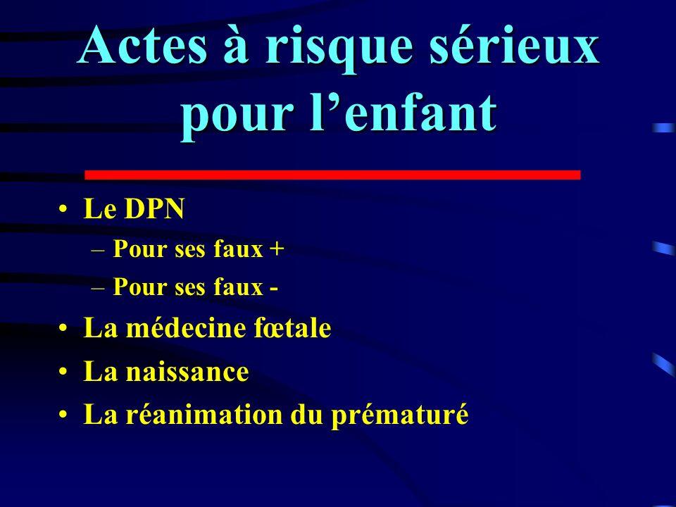 Actes à risque sérieux pour lenfant Le DPN –Pour ses faux + –Pour ses faux - La médecine fœtale La naissance La réanimation du prématuré