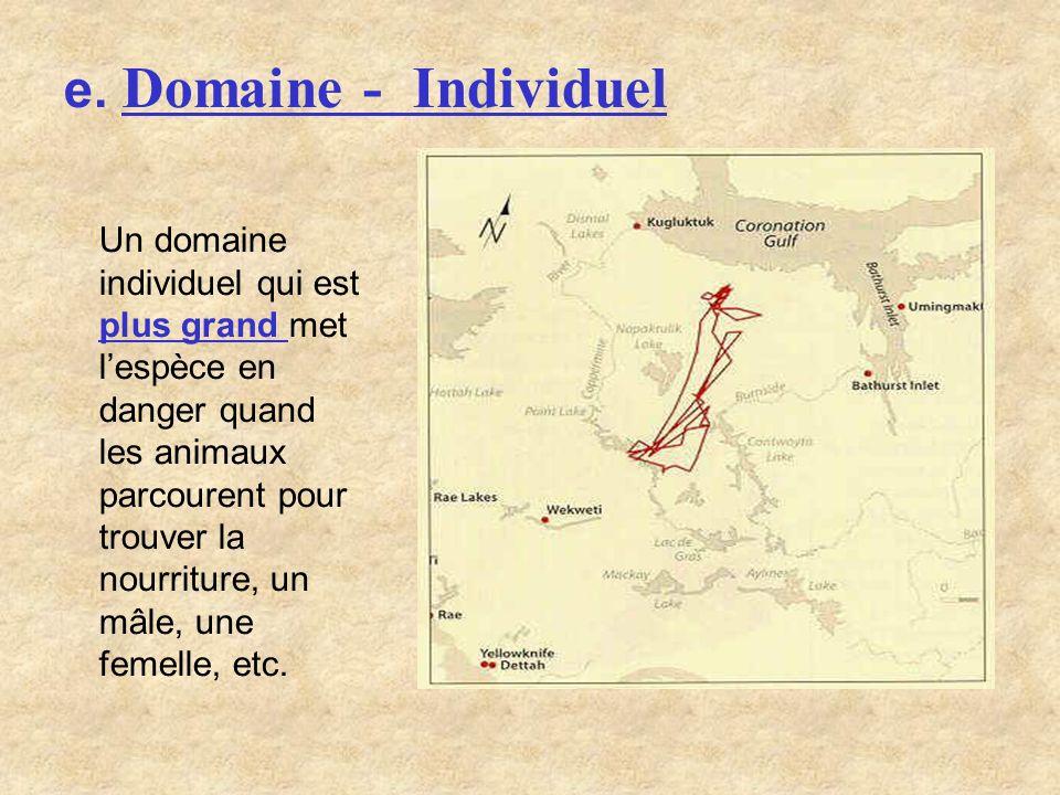 e. Domaine - Individuel Un domaine individuel qui est plus grand met lespèce en danger quand les animaux parcourent pour trouver la nourriture, un mâl