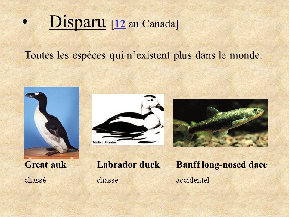 2.Extirpé [21 au Canada] Toutes les espèces qui nexistent plus au Canada.
