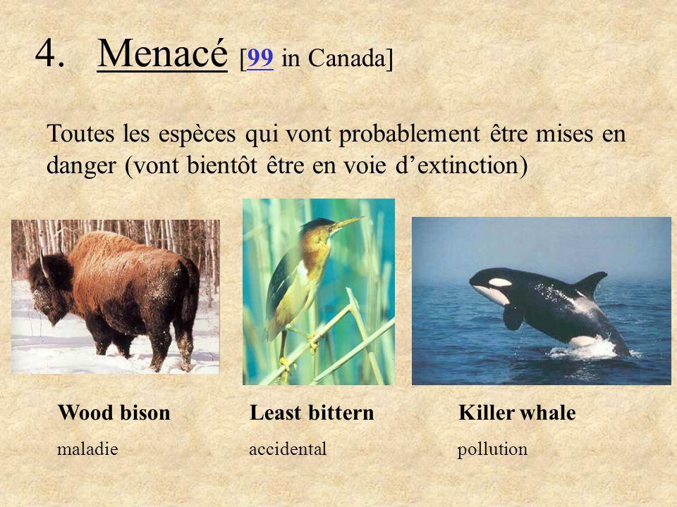 5.Vulnérable (Préoccupation spécial) [142 au Canada] Toutes les espèces qui sont en danger à cause des nombres en déclin ou de nombres bas Grizzly bear persécuté Spotted turtle Commerce danimaux de compagnie Peregrine falcon pollution
