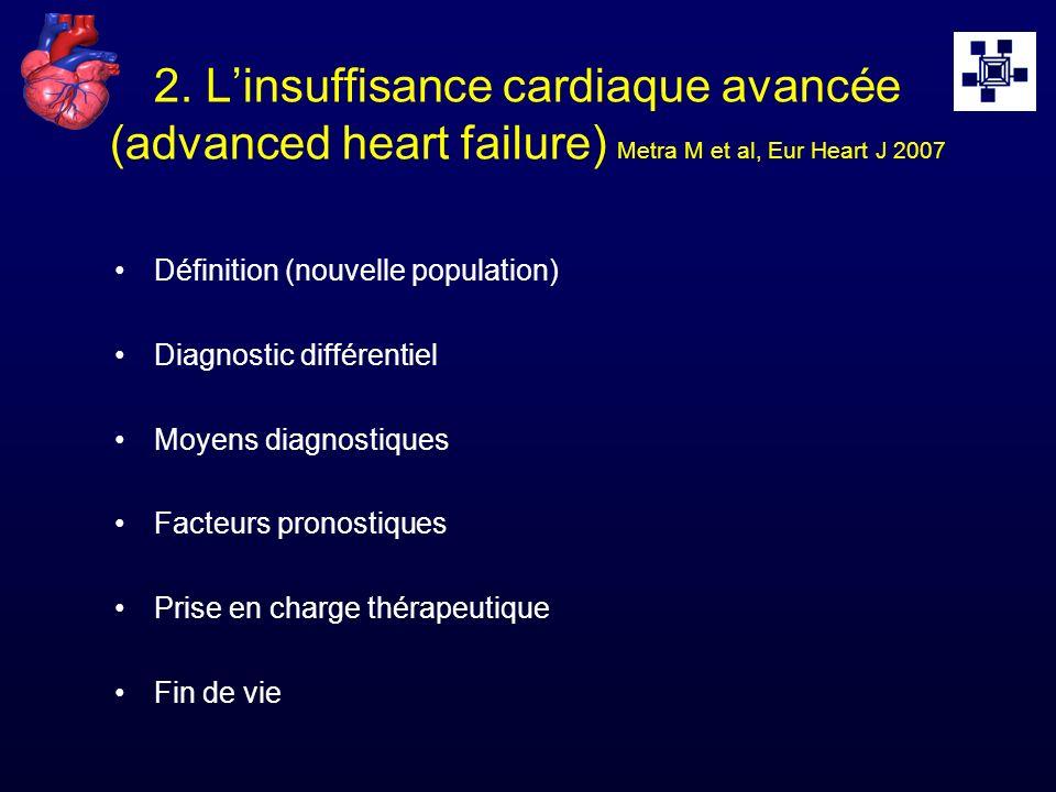 2. Linsuffisance cardiaque avancée (advanced heart failure) Metra M et al, Eur Heart J 2007 Définition (nouvelle population) Diagnostic différentiel M