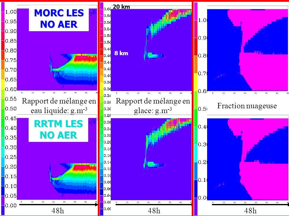 Rapport de mélange en eau liquide: g.m -3 48h Rapport de mélange en glace: g.m -3 Fraction nuageuse MORC LES NO AER RRTM LES NO AER 20 km 8 km