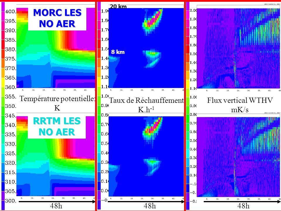 Température potentielle: K 48h Flux vertical WTHV mK/s Taux de Réchauffement K.h -1 MORC LES NO AER RRTM LES NO AER 20 km 8 km