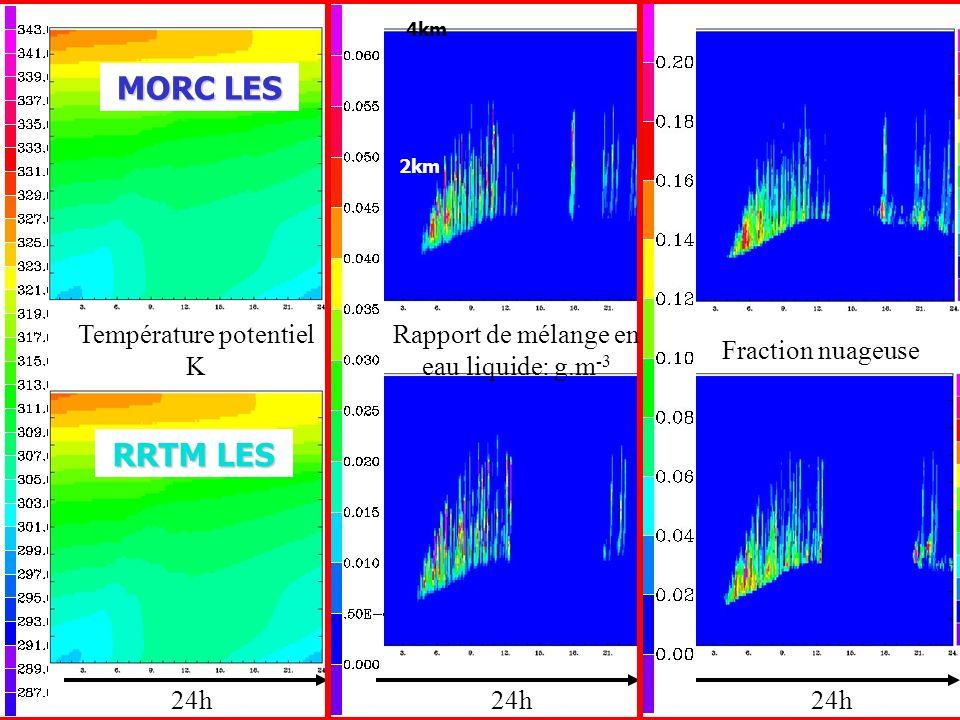 24h Température potentiel K Rapport de mélange en eau liquide: g.m -3 Fraction nuageuse RRTM LES MORC LES 4km 2km