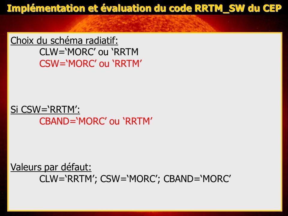 Evaluer pour 3 situations: Stratocumulus marin: Cas FIRE (14 juillet 1987-Island) Cas utilisé pour évaluer MORC-SW vs SHDOM: - absorption dans le nuage correct - flux au sol surestimé cf note de centre de METEO-France, 2007, n°28 Couche limite convective sèche: Cas Niamey (5 juin 2006-Niger): - évaluer lapport de la discrétisation en 14 bandes spectrales sur la diffusion moléculaire - Intéraction rayonnement – particules daérosols Cumulus sur continent: basé sur le cas ARM du (21 juin 1997) : Cas partiellement nuageux: couplage des différents impacts Implémentation et évaluation du code RRTM_SW du CEP