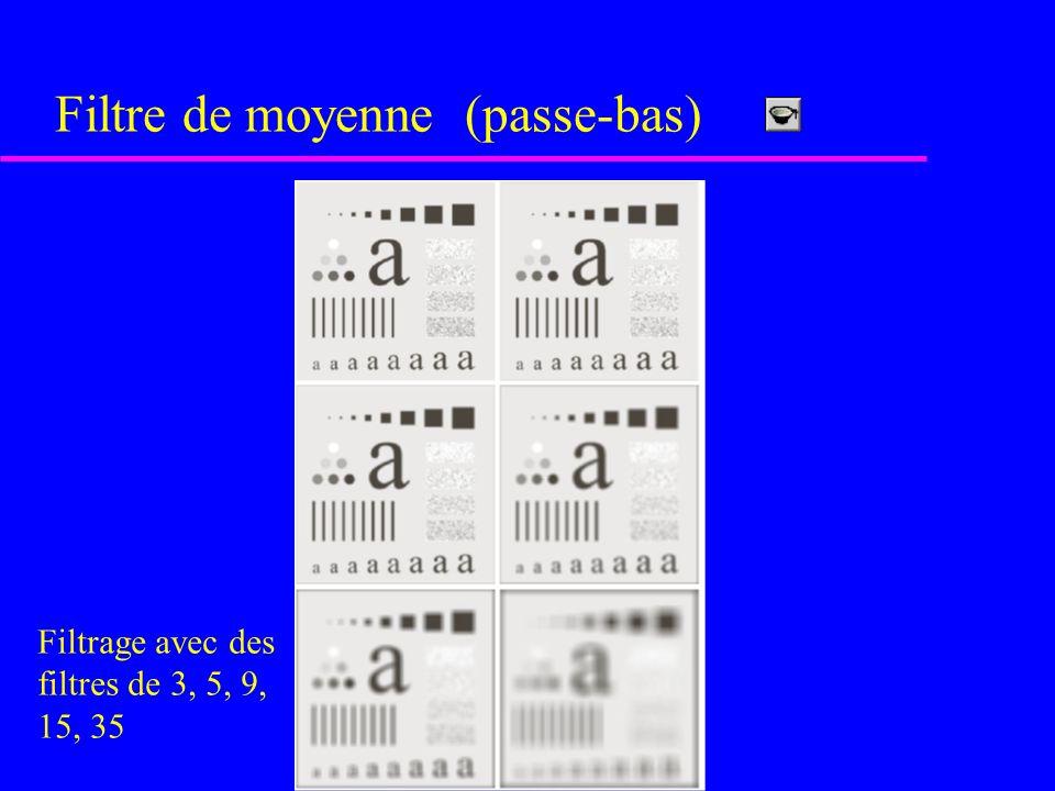 Filtre de moyenne (passe-bas) 1111 1 1111 11111 1 1111 1 1111 1 1/25 X N.B.