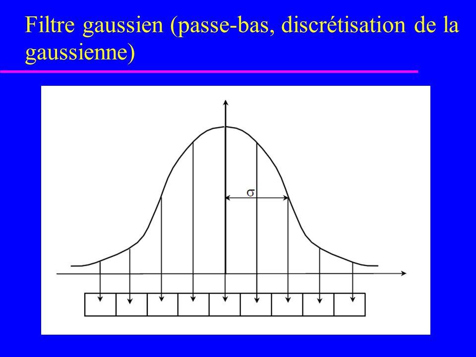Filtre gaussien (passe-bas) fonction gaussienne 2-D w3w3 w9w9 w2w2 w8w8 w1w1 w7w7 w6w6 w5w5 w4w4 Dim X = DimY = 8 + 1 où