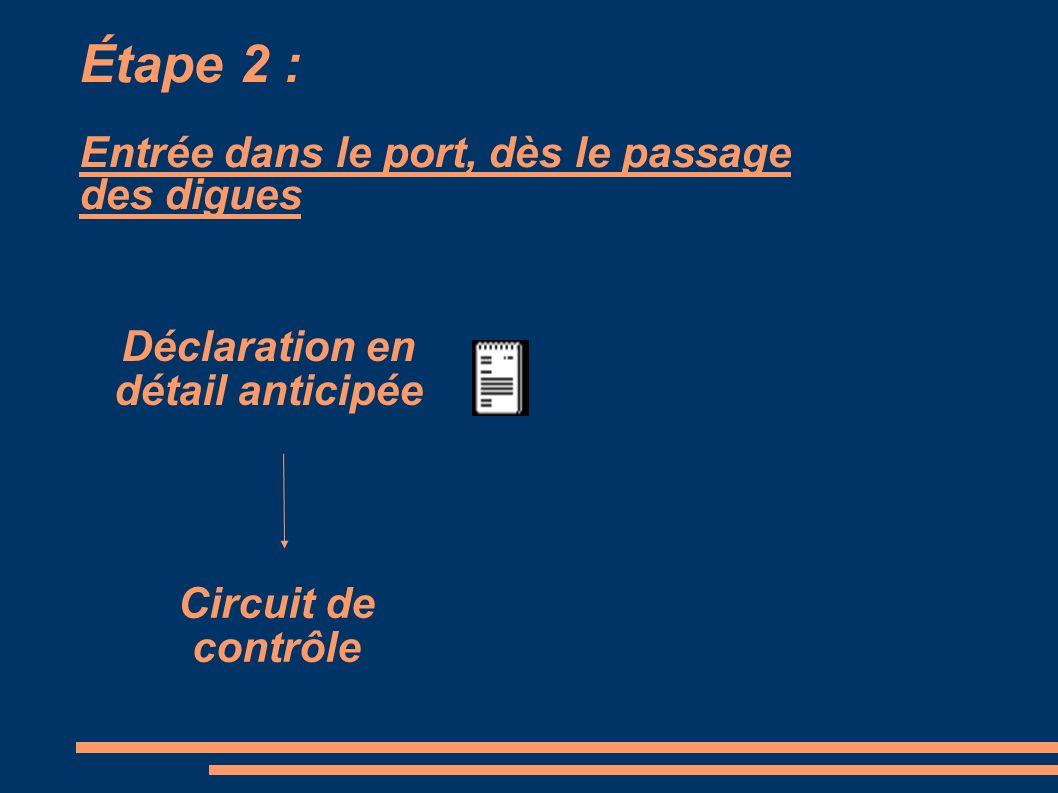 Étape 2 : Entrée dans le port, dès le passage des digues Déclaration en détail anticipée Circuit de contrôle