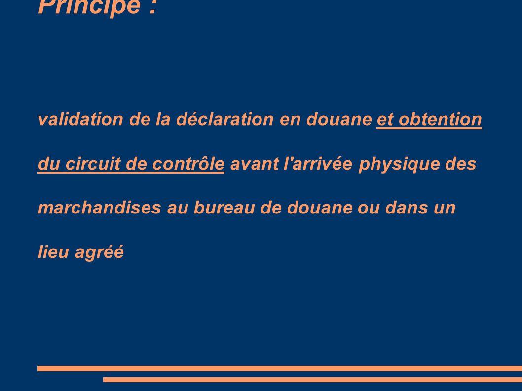 Principe : validation de la déclaration en douane et obtention du circuit de contrôle avant l'arrivée physique des marchandises au bureau de douane ou