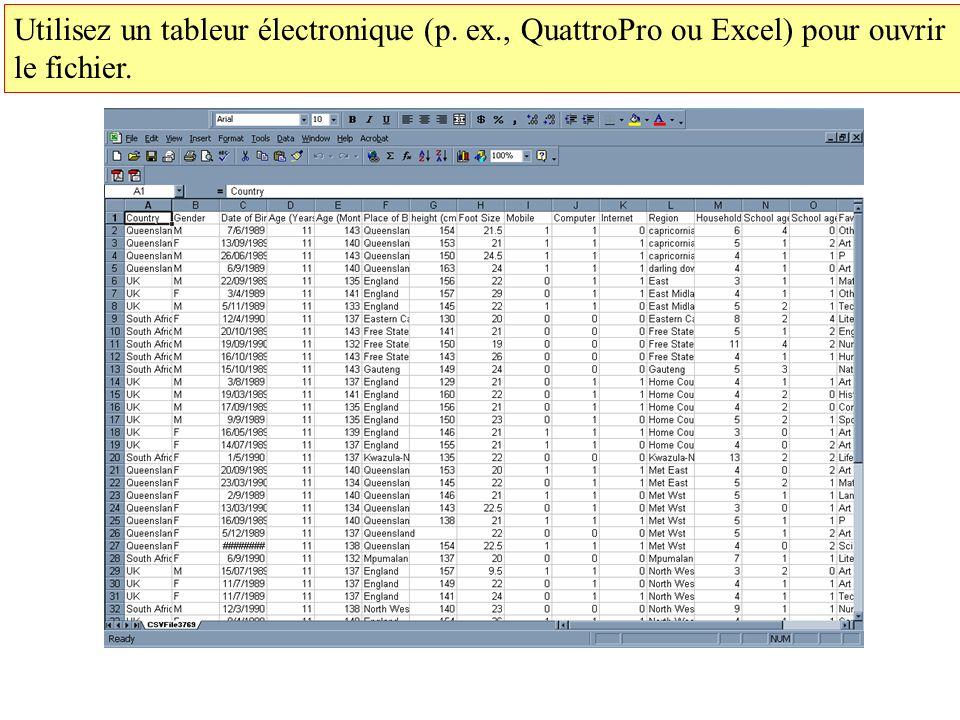 Utilisez un tableur électronique (p. ex., QuattroPro ou Excel) pour ouvrir le fichier.