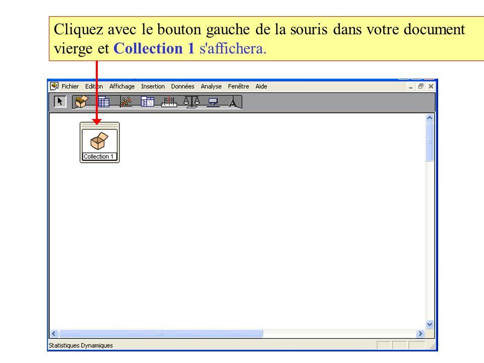 Cliquez avec le bouton gauche de la souris dans votre document vierge et Collection 1 s affichera.