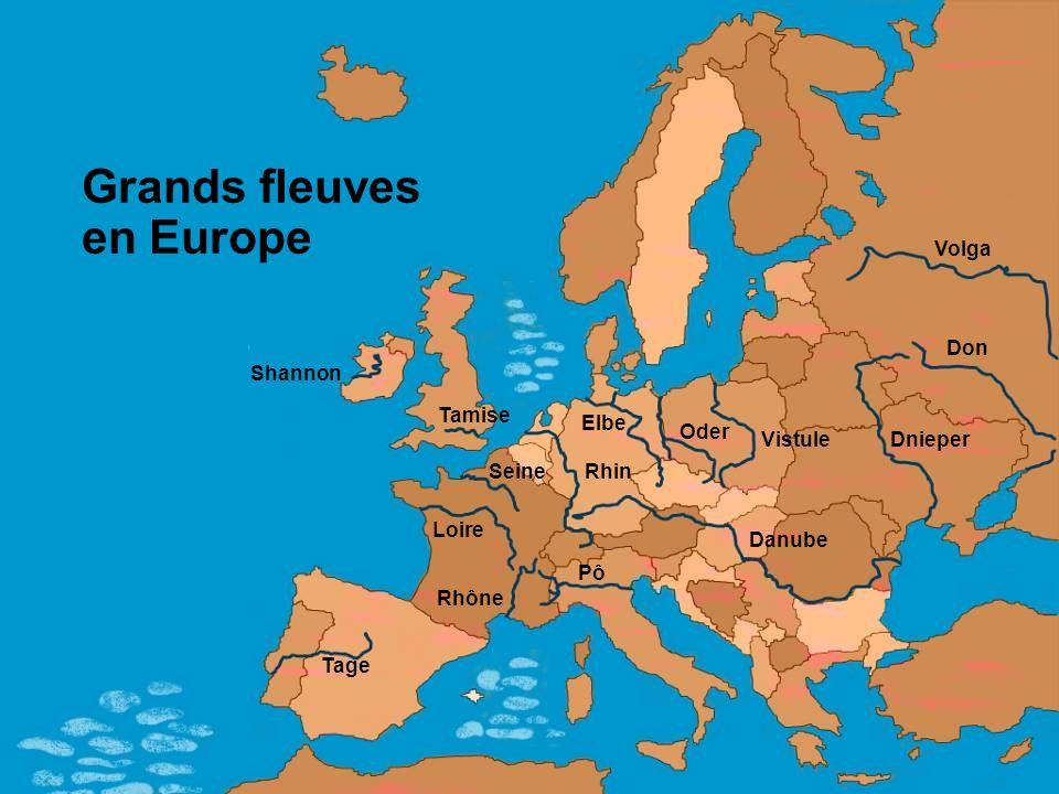Grands fleuves en Europe Elbe Oder Vistule Volga Dnieper Danube Pô Rhône Tage Tamise Shannon Seine Loire Rhin Don