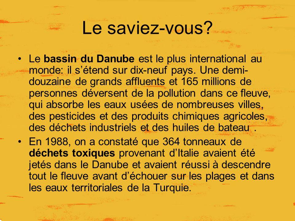 Le saviez-vous? Le bassin du Danube est le plus international au monde: il sétend sur dix-neuf pays. Une demi- douzaine de grands affluents et 165 mil