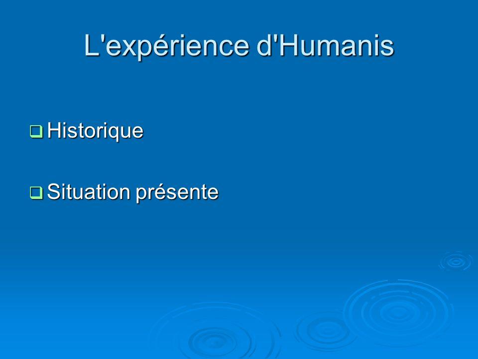 L'expérience d'Humanis Historique Historique Situation présente Situation présente