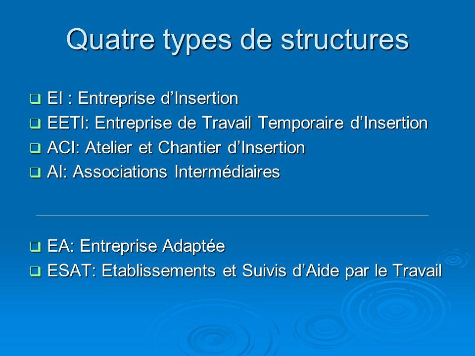 Quatre types de structures EI : Entreprise dInsertion EI : Entreprise dInsertion EETI: Entreprise de Travail Temporaire dInsertion EETI: Entreprise de
