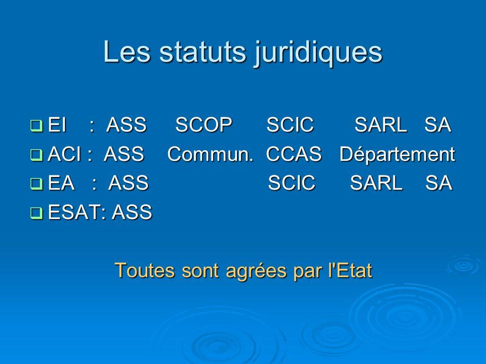 Les statuts juridiques EI : ASS SCOP SCIC SARL SA EI : ASS SCOP SCIC SARL SA ACI : ASS Commun.