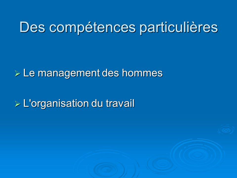 Des compétences particulières Le management des hommes Le management des hommes L'organisation du travail L'organisation du travail