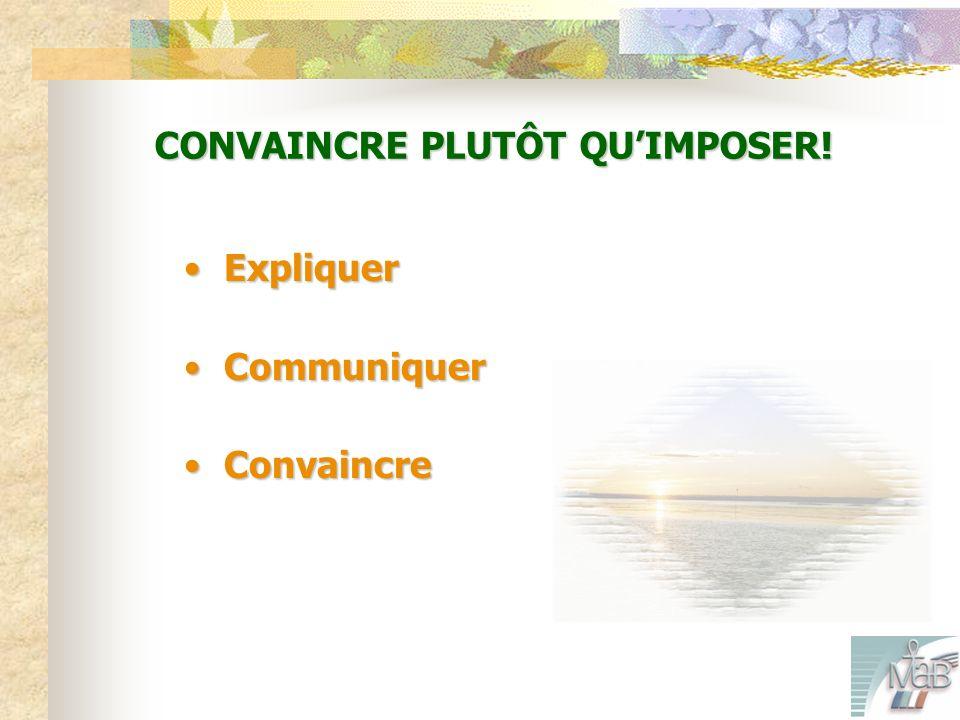 CONVAINCRE PLUTÔT QUIMPOSER! Expliquer Expliquer Communiquer Communiquer Convaincre Convaincre