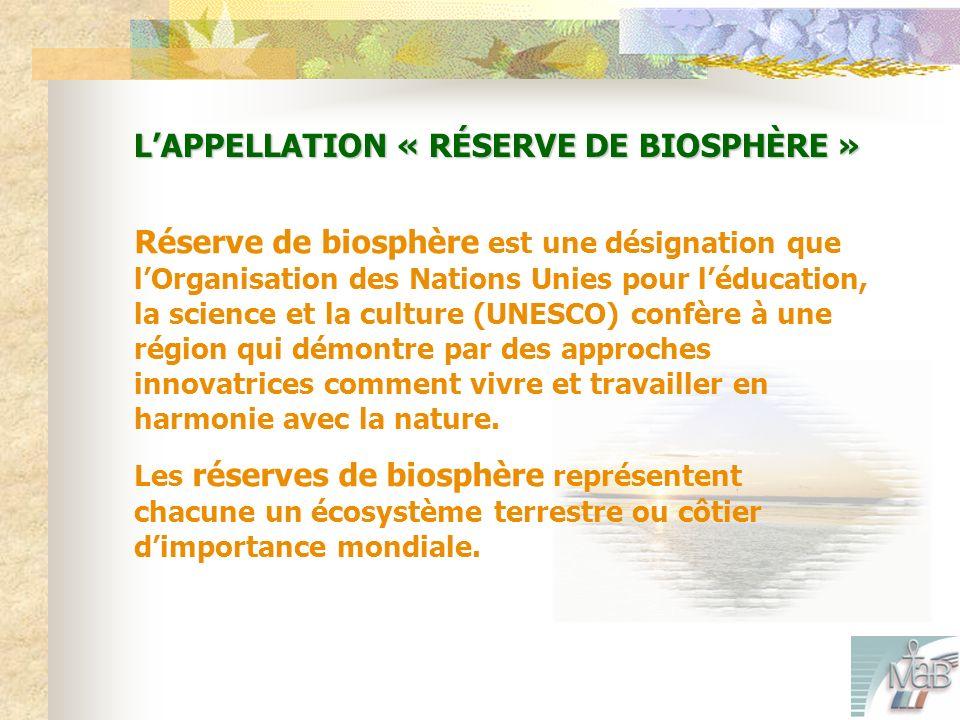 LAPPELLATION « RÉSERVE DE BIOSPHÈRE » Réserve de biosphère est une désignation que lOrganisation des Nations Unies pour léducation, la science et la culture (UNESCO) confère à une région qui démontre par des approches innovatrices comment vivre et travailler en harmonie avec la nature.