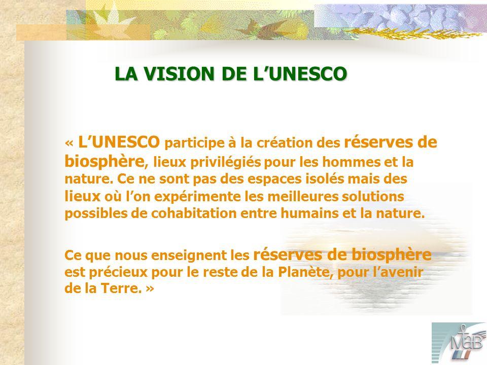 LA VISION DE LUNESCO « LUNESCO participe à la création des réserves de biosphère, lieux privilégiés pour les hommes et la nature.