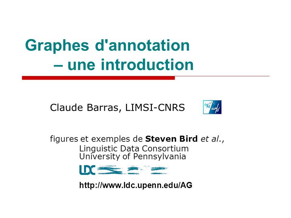 Graphes d annotation – une introduction Claude Barras, LIMSI-CNRS figures et exemples de Steven Bird et al., Linguistic Data Consortium University of Pennsylvania http://www.ldc.upenn.edu/AG