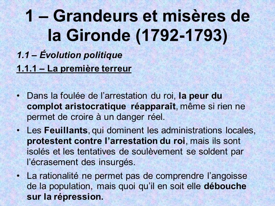 1 – Grandeurs et misères de la Gironde (1792-1793) 1.1 – Évolution politique 1.1.1 – La première terreur Dans la foulée de larrestation du roi, la peu