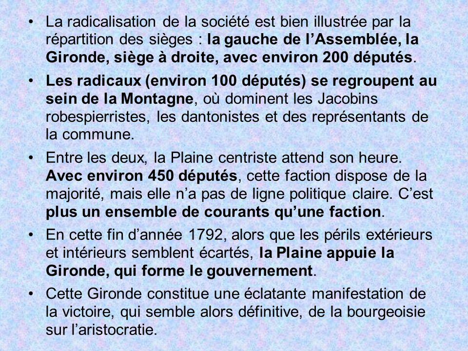 La radicalisation de la société est bien illustrée par la répartition des sièges : la gauche de lAssemblée, la Gironde, siège à droite, avec environ 2