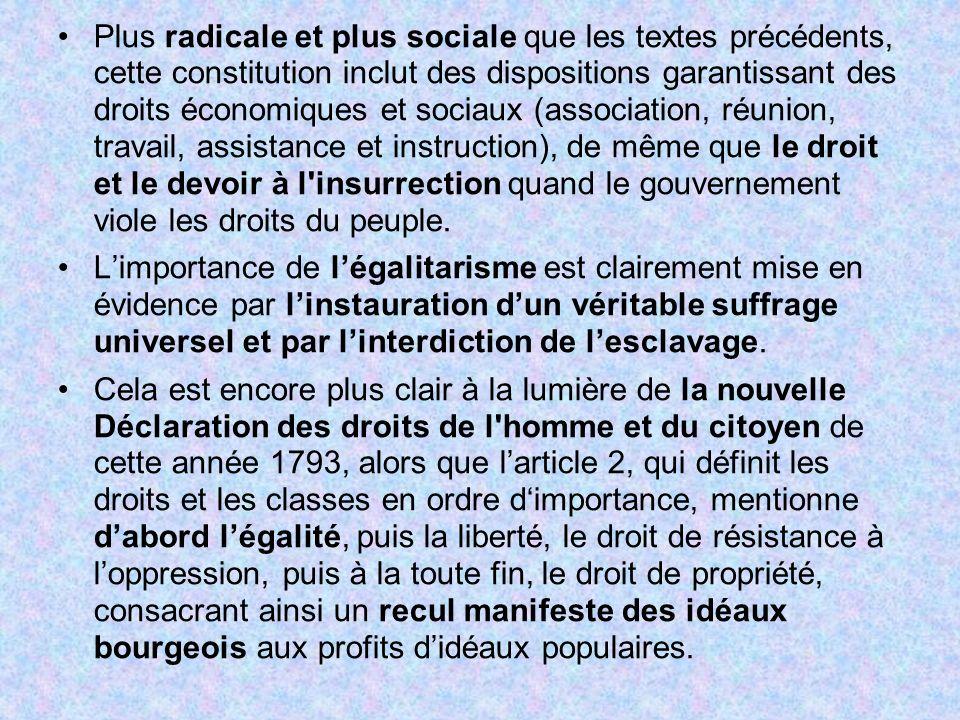 Plus radicale et plus sociale que les textes précédents, cette constitution inclut des dispositions garantissant des droits économiques et sociaux (as