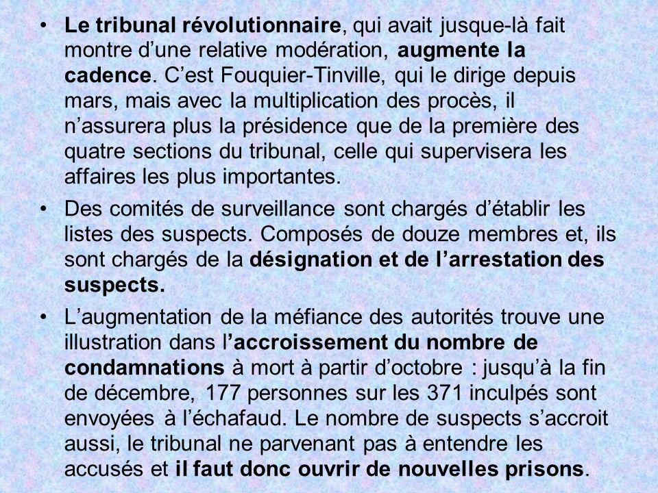 Le tribunal révolutionnaire, qui avait jusque-là fait montre dune relative modération, augmente la cadence. Cest Fouquier-Tinville, qui le dirige depu