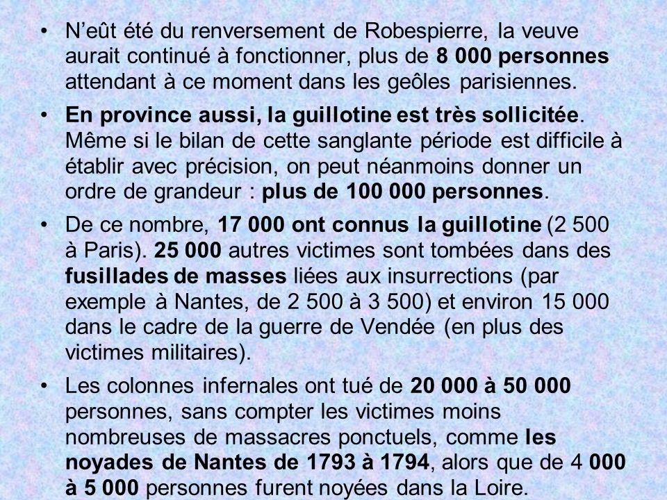 Neût été du renversement de Robespierre, la veuve aurait continué à fonctionner, plus de 8 000 personnes attendant à ce moment dans les geôles parisie