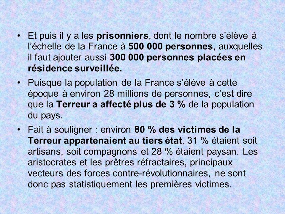Et puis il y a les prisonniers, dont le nombre sélève à léchelle de la France à 500 000 personnes, auxquelles il faut ajouter aussi 300 000 personnes