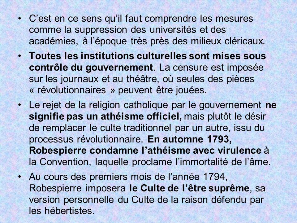 Cest en ce sens quil faut comprendre les mesures comme la suppression des universités et des académies, à lépoque très près des milieux cléricaux. Tou