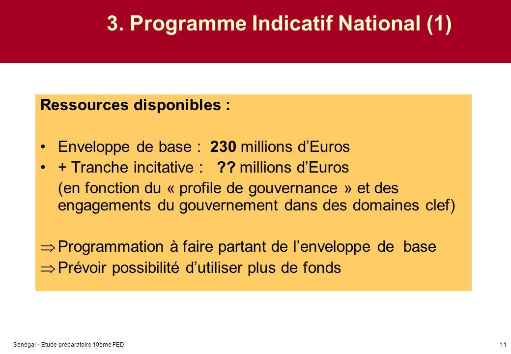 Sénégal – Etude préparatoire 10ème FED11 3. Programme Indicatif National (1) Ressources disponibles : Enveloppe de base : 230 millions dEuros + Tranch