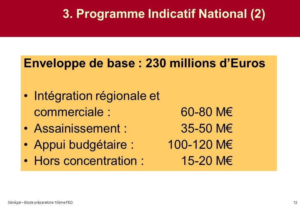Sénégal – Etude préparatoire 10ème FED12 3. Programme Indicatif National (2) Enveloppe de base : 230 millions dEuros Intégration régionale et commerci