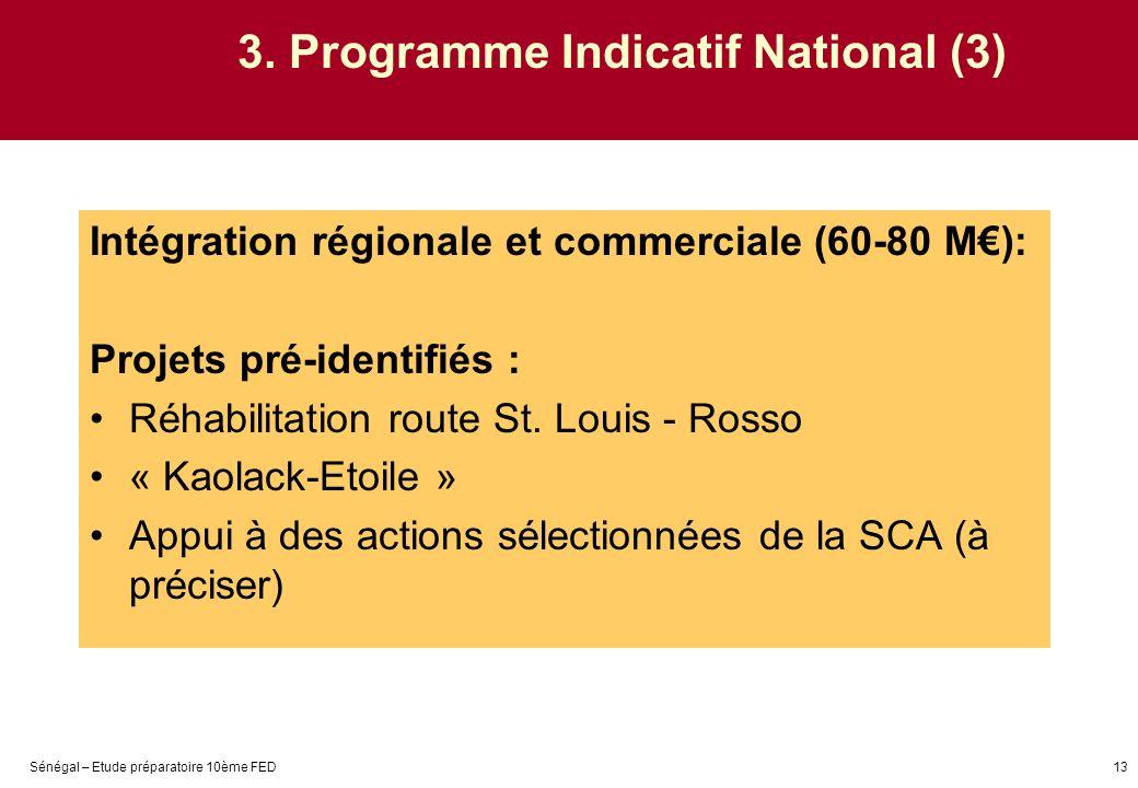 Sénégal – Etude préparatoire 10ème FED13 3. Programme Indicatif National (3) Intégration régionale et commerciale (60-80 M): Projets pré-identifiés :