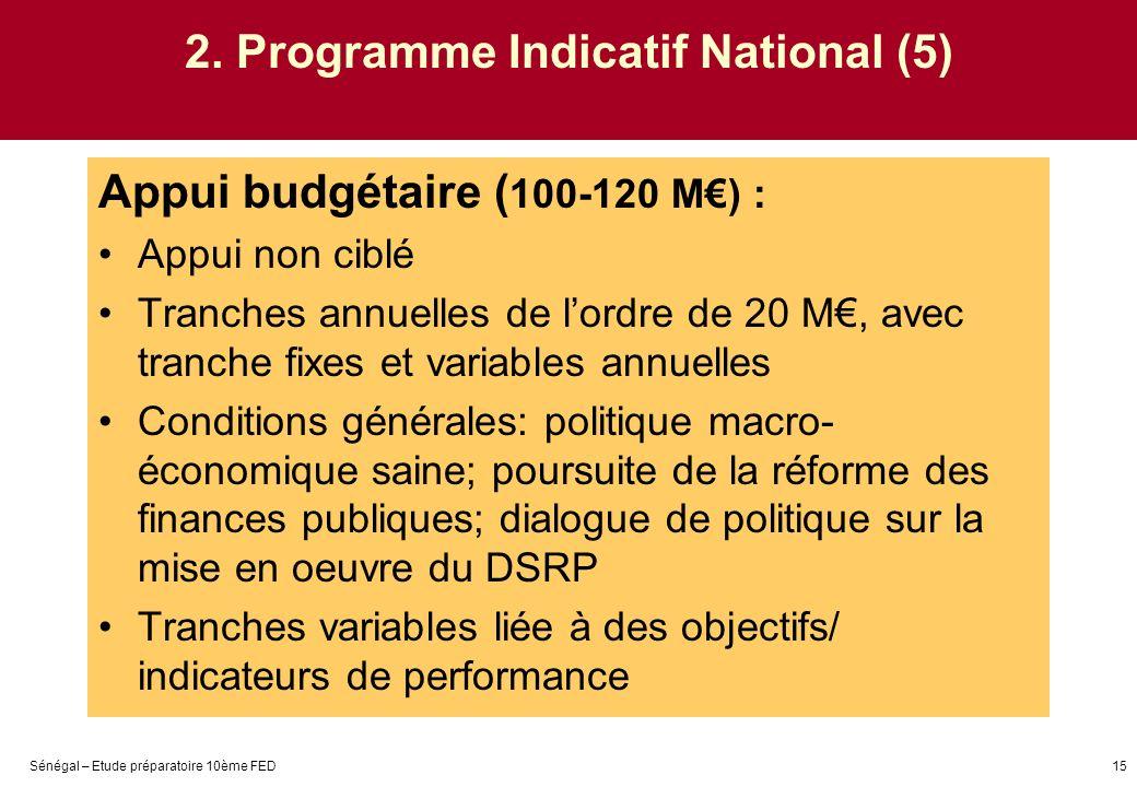 Sénégal – Etude préparatoire 10ème FED15 2. Programme Indicatif National (5) Appui budgétaire ( 100-120 M) : Appui non ciblé Tranches annuelles de lor