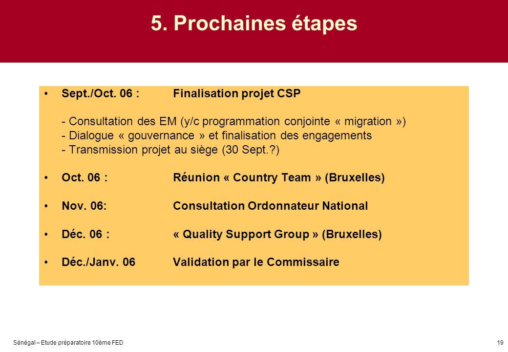Sénégal – Etude préparatoire 10ème FED19 5. Prochaines étapes Sept./Oct. 06 : Finalisation projet CSP - Consultation des EM (y/c programmation conjoin