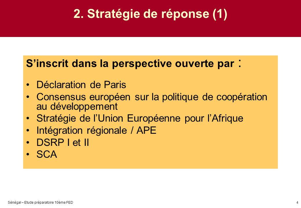 Sénégal – Etude préparatoire 10ème FED4 2. Stratégie de réponse (1) Sinscrit dans la perspective ouverte par : Déclaration de Paris Consensus européen