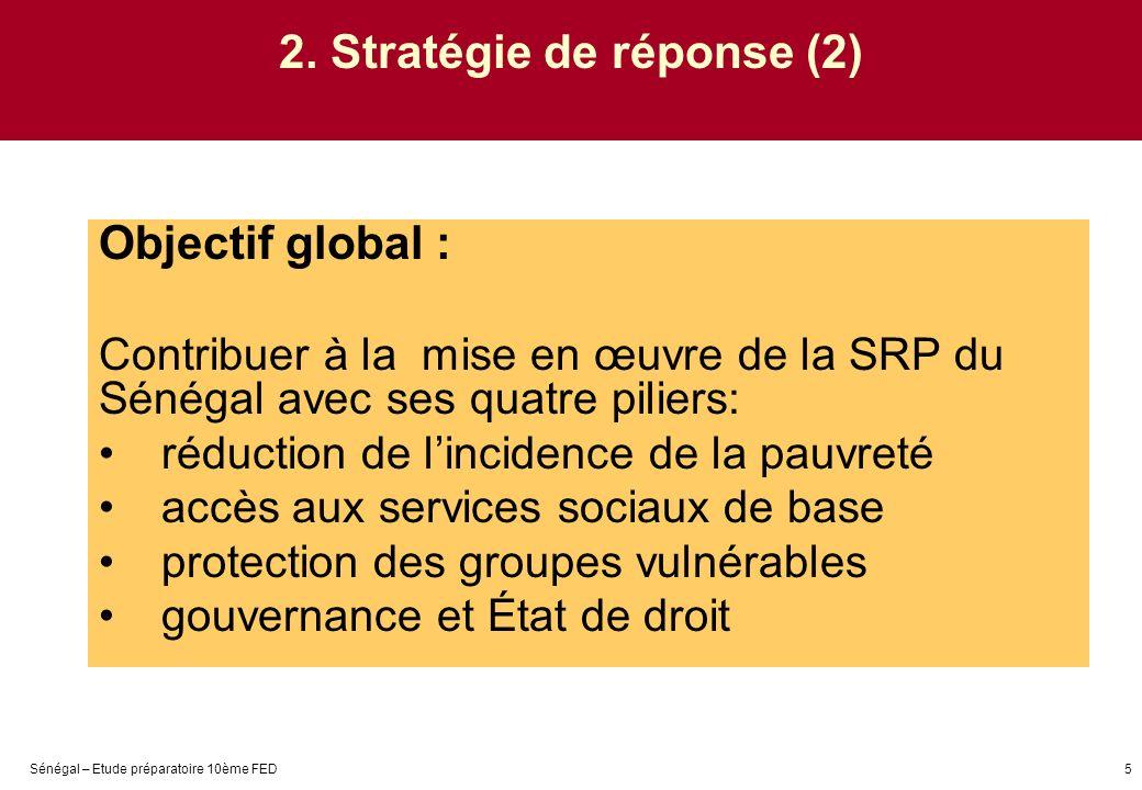Sénégal – Etude préparatoire 10ème FED5 2. Stratégie de réponse (2) Objectif global : Contribuer à la mise en œuvre de la SRP du Sénégal avec ses quat
