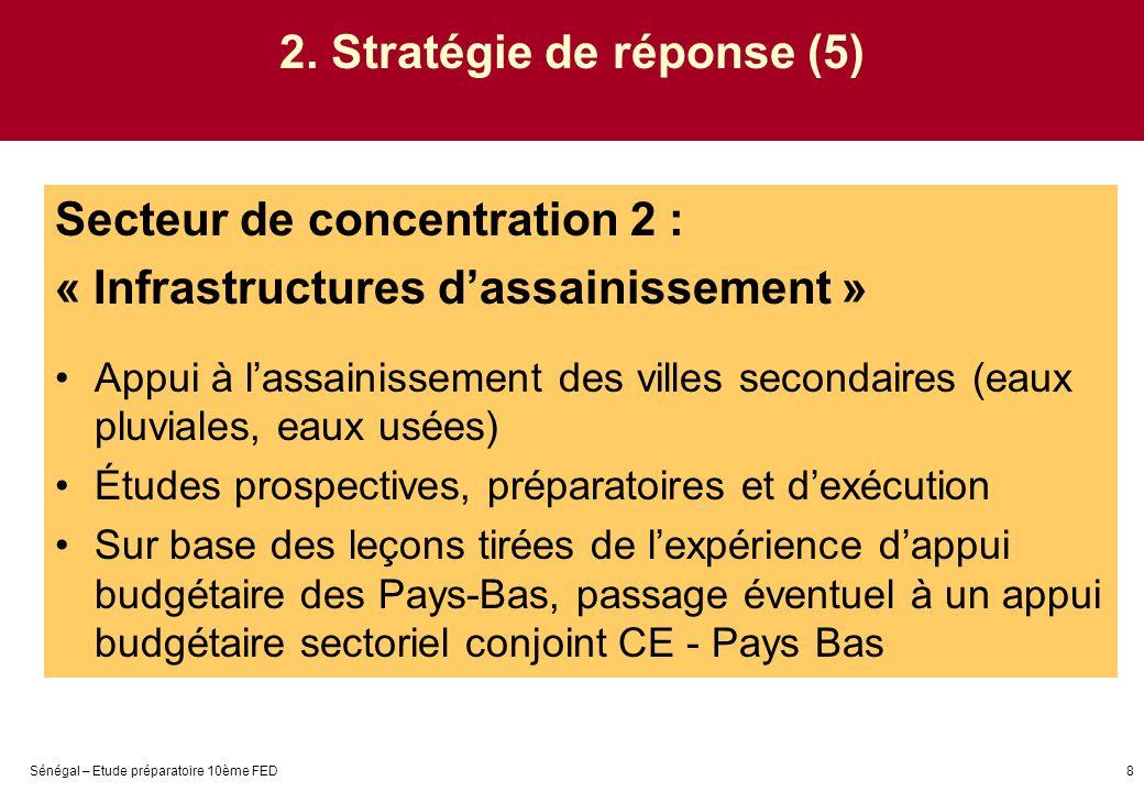 Sénégal – Etude préparatoire 10ème FED8 2. Stratégie de réponse (5) Secteur de concentration 2 : « Infrastructures dassainissement » Appui à lassainis