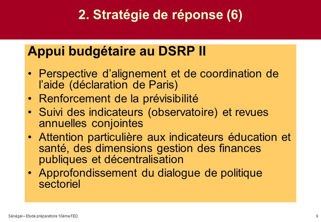 Sénégal – Etude préparatoire 10ème FED9 2. Stratégie de réponse (6) Appui budgétaire au DSRP II Perspective dalignement et de coordination de laide (d