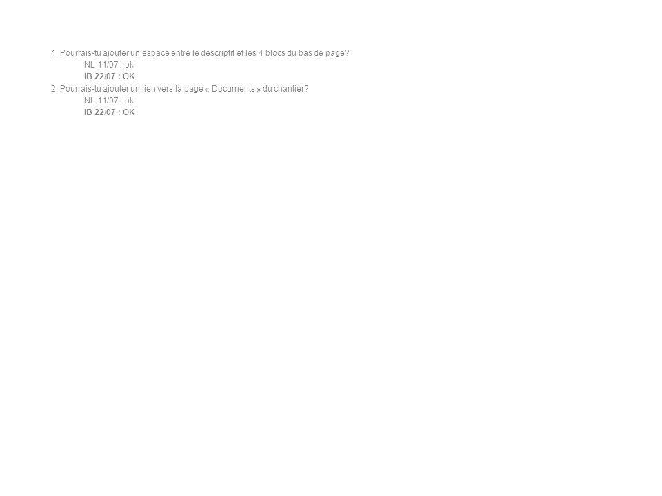 1.Pourrais-tu ajouter un espace entre le descriptif et les 4 blocs du bas de page.