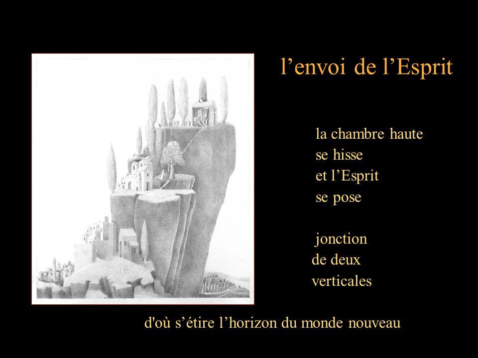 lenvoi de lEsprit la chambre haute se hisse et lEsprit se pose jonction de deux verticales d où sétire lhorizon du monde nouveau