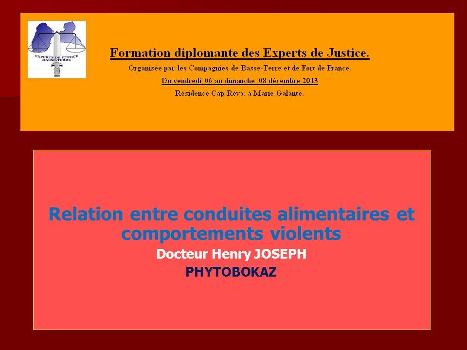 Relation entre conduites alimentaires et comportements violents Docteur Henry JOSEPH PHYTOBOKAZ