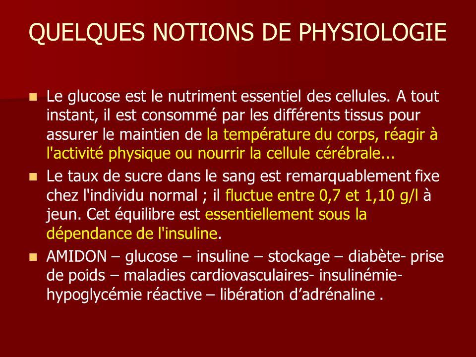 QUELQUES NOTIONS DE PHYSIOLOGIE Le glucose est le nutriment essentiel des cellules.