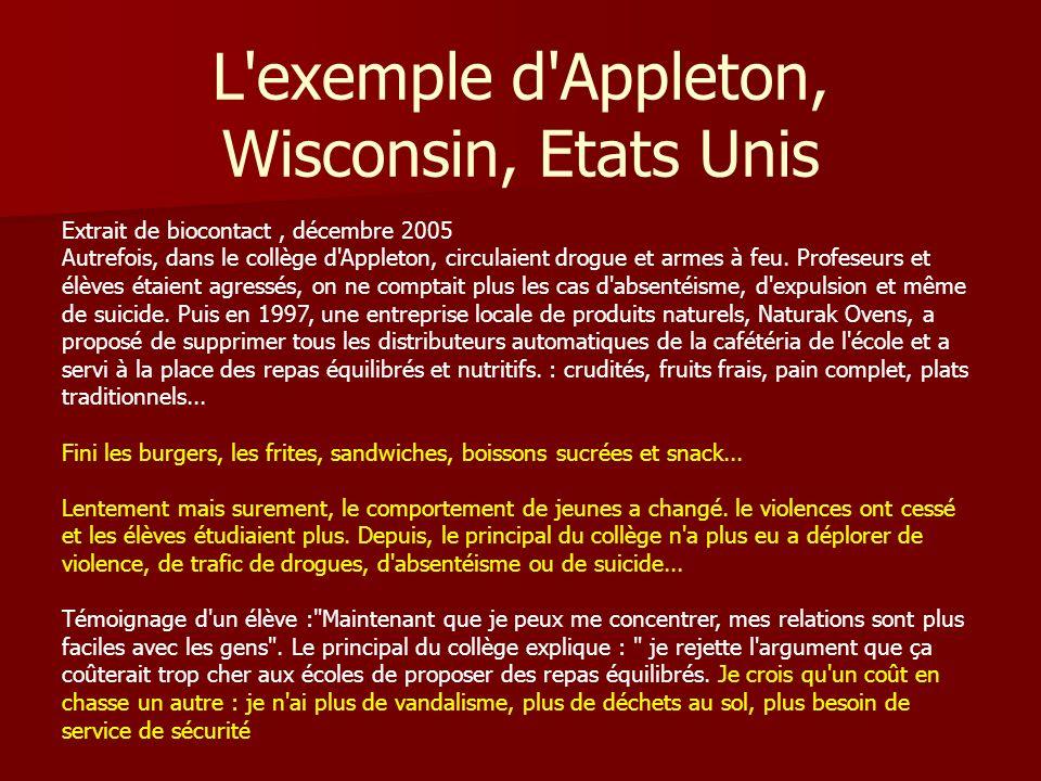L exemple d Appleton, Wisconsin, Etats Unis Extrait de biocontact, décembre 2005 Autrefois, dans le collège d Appleton, circulaient drogue et armes à feu.